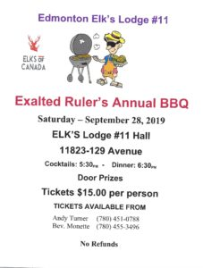 Edmonton Elks #11 BBQ @ Elks Lodge